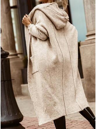 Solide Pocket Met capuchon Casual Lang Vest