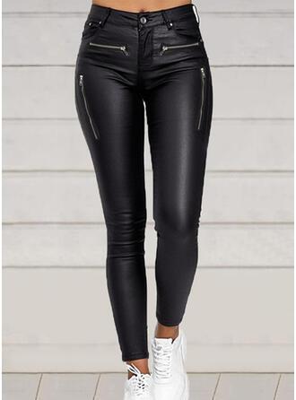 Solid PU Long Sexy Vintage Shirred Pants Leggings
