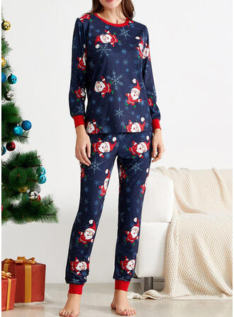 Polyester Long Sleeves Christmas Pyjama Set