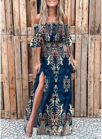 Print 1/2 Sleeves Flare Sleeve A-line Skater Casual/Boho/Vacation Maxi Dresses