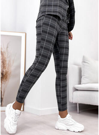 Plaid Long Casual Elegant Plus Size Drawstring Lounge Pants