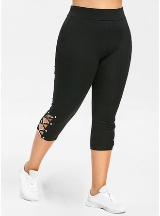 Solid Cotton Knit Capris Pants Leggings