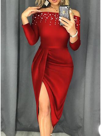 Solide Lange Mouwen Koker Knielengte Zwart jurkje/Feest/Elegant Jurken