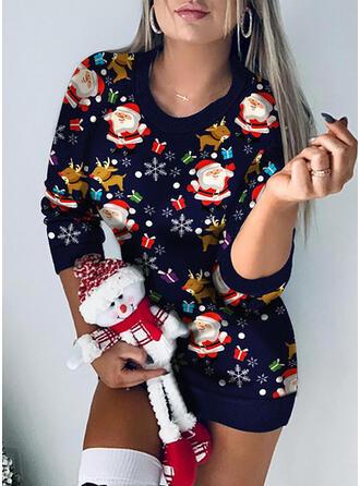 Print Lange Mouwen Bodycon Boven de knie Kerstmis/Casual Jurken