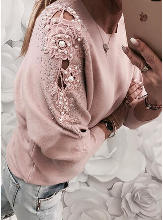 Solid Lace Beaded Round Neck Casual Sweaters