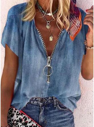 Solid V-Neck Short Sleeves Casual Denim Blouses