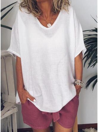 Solide Ronde Hals Korte Mouwen Casual Basic T-shirts
