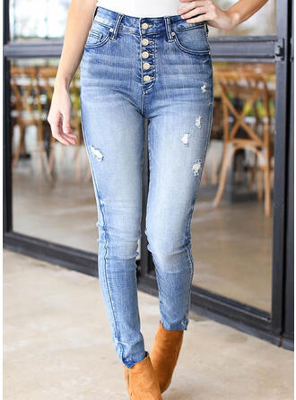 Solid Denim Long Casual Plus Size Pocket Ripped Button Denim & Jeans