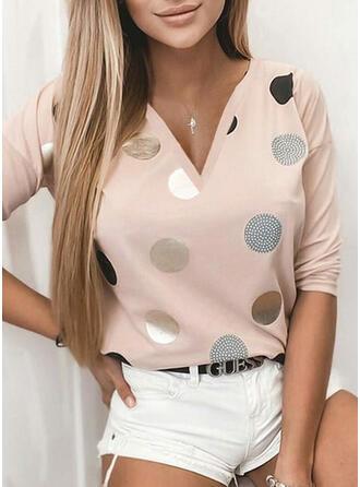 PolkaDot Print V-Neck Long Sleeves T-shirts