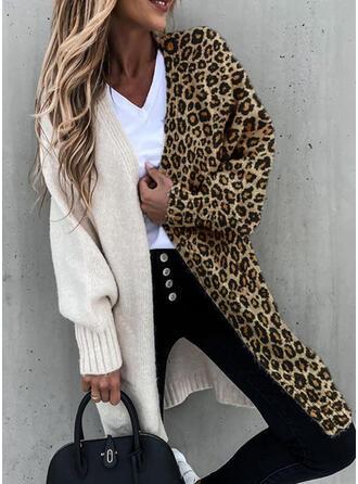 Color Block Pocket Leopard Casual Long Cardigan