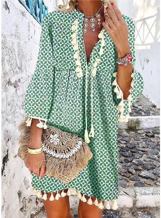Print/Tassel 3/4 Sleeves/Flare Sleeves Shift Above Knee Casual/Boho/Vacation Dresses