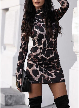 Leopard Long Sleeves Bodycon Above Knee Casual Dresses