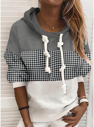 Color Block PolkaDot Long Sleeves Hoodie
