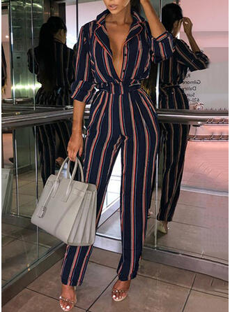 Striped Cotton Lapel Long Sleeves Casual Office/Business Jumpsuit
