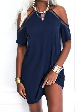 Solid 1/2 Sleeves Cold Shoulder Sleeve Shift Above Knee Casual Tunic Dresses