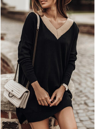 Color Block V-Neck Casual Long Sweater Dress