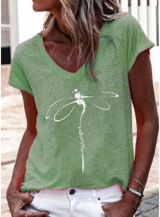 Letter V-Neck Short Sleeves T-shirts