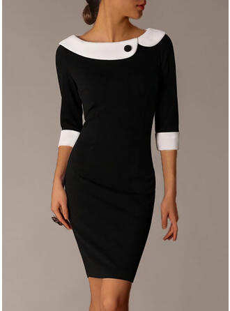 Color Block 1/2 Sleeves Bodycon Knee Length Elegant Pencil Dresses