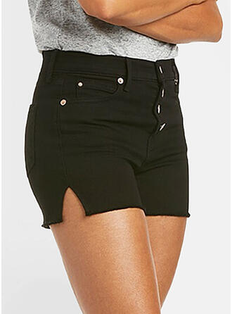 Solid Denim Above Knee Casual Plus Size Pocket Button Shorts