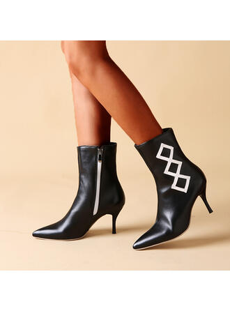 Women's PU Stiletto Heel Ankle Boots Pointed Toe With Zipper Colorblock shoes