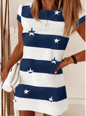 Print/Color Block Short Sleeves Shift Above Knee Casual T-shirt Dresses