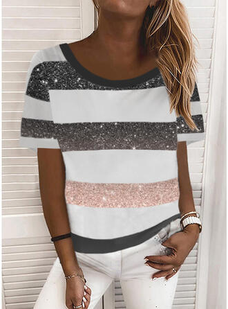Color Block Print Round Neck Short Sleeves T-shirts