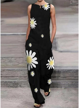 Floral Print Cotton Round Neck Sleeveless Casual Vacation Jumpsuit