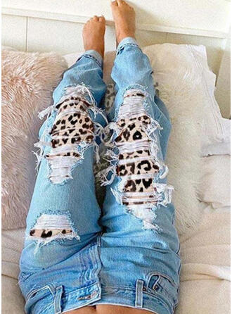 Plus Size Ripped Leopard Tribal Vintage Denim & Jeans