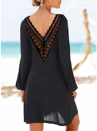 Lace/Solid Long Sleeves Shift Above Knee Little Black/Casual/Vacation Tunic Dresses