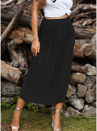 Polyester Plain Maxi Pleated Skirts