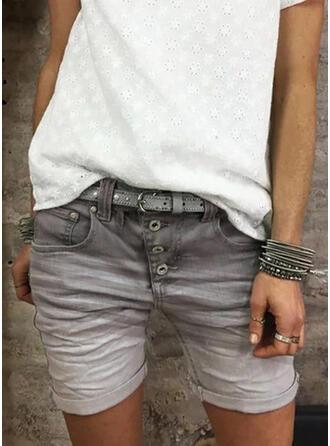 Plus Size Above Knee Casual Jacquard Denim Shorts Denim & Jeans