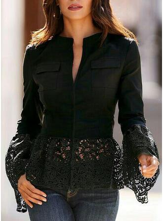 Solid Lace V-Neck Flare Sleeve Long Sleeves Elegant Blouses