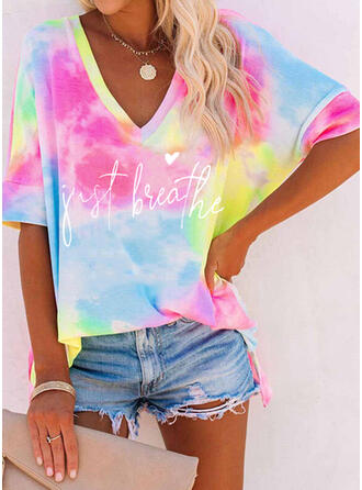 Figure Heart Print Tie Dye V-Neck 1/2 Sleeves T-shirts