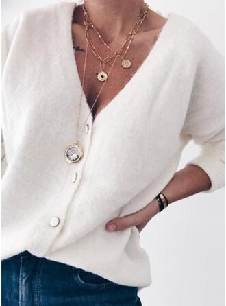 Cotton Blends Long Sleeves Plain Cardigans