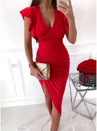 Solid Short Sleeves Ruffle Sleeve Bodycon Above Knee Elegant Dresses