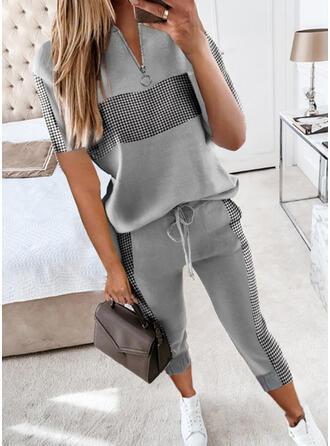 Plaid Casual Plus Size Blouse & Pants Two-Piece Outfits Set