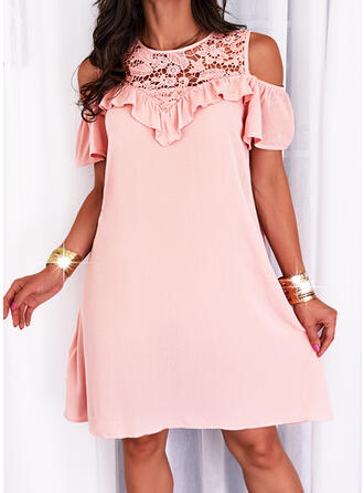 Solid Lace Short Sleeves Cold Shoulder Sleeve Shift Above Knee Casual/Elegant Tunic Dresses