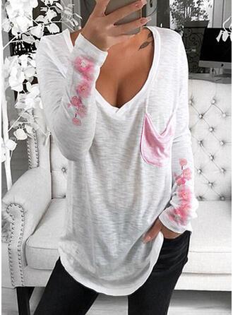 Print Bloemen V-hals Lange Mouwen Casual T-shirts