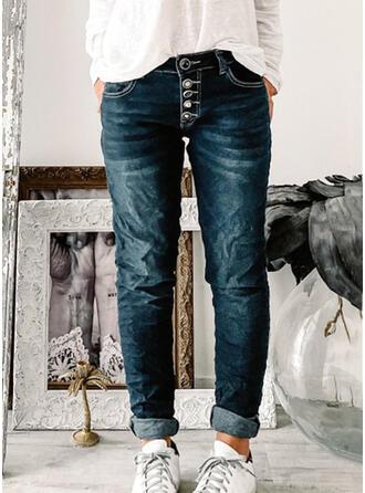 Solid Cotton Denim Long Vintage Pocket Button Denim & Jeans