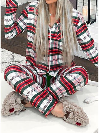 Polyester Long Sleeves Christmas Grid Pyjama Set