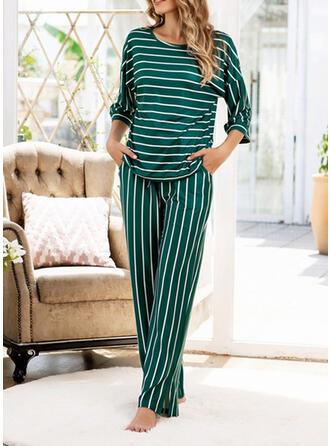 Katoenblends Streep Grote maat Ronde Hals Lange Mouwen Pyjama Set