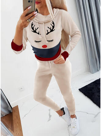 Animal Color Block Casual Sweatshirts & Two-Piece Outfits Set
