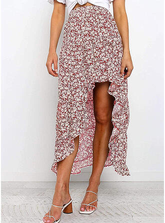 Polyester Print Floral Asymmetrical Asymmetrical