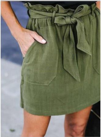 Rayon Plain Mini Pencil Skirts