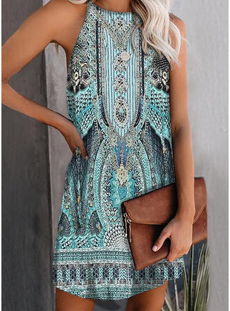 Print Sleeveless Shift Above Knee Casual/Boho Tank Dresses