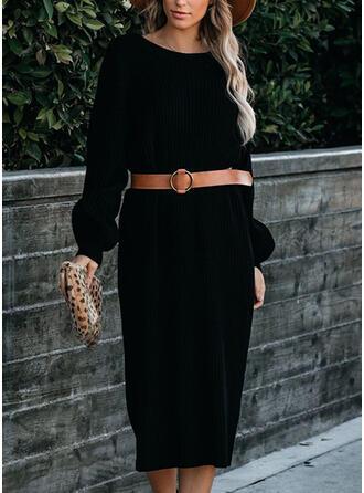 Solide Lange Mouwen Koker Trui Zwart jurkje/Casual Medium Jurken