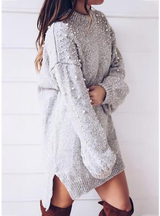 Solide Met Kralen Ronde Hals Casual Lang Sweaterjurk