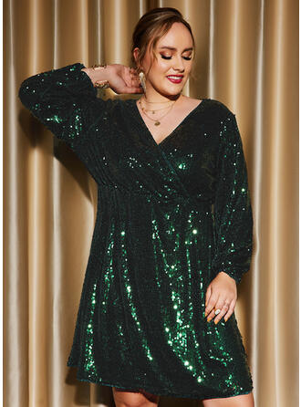 Solid Long Sleeves Lantern Sleeve Shift Knee Length Party/Plus Size Dresses