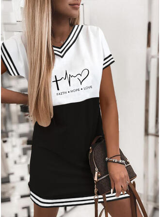 Print/Color Block/Striped/Heart/Letter Short Sleeves Shift Above Knee Casual T-shirt Dresses