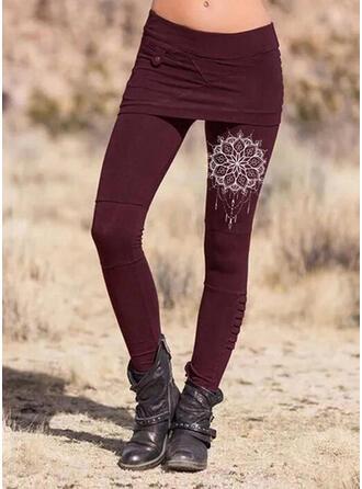 Solide Print Grote maat Elegant Sexy Leggings